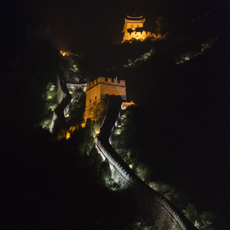 Juyongguan pass section of the Great Wall of China at night, Changping District, Beijing, China photo