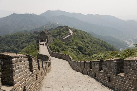 past civilization: Mutianyu section of Great Wall Of China, Huairou District, Beijing, China Stock Photo