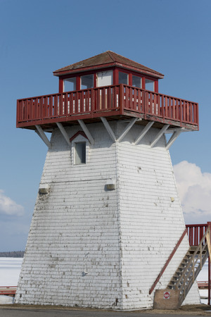 lake winnipeg: Lighthouse at the lakeside, Lake Winnipeg, Hecla Grindstone Provincial Park, Manitoba, Canada Stock Photo
