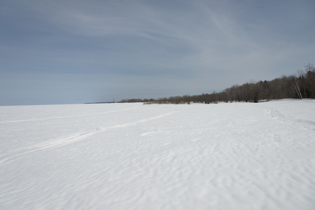Frozen lake in winter, Lake Winnipeg, Riverton, Hecla Grindstone Provincial Park, Manitoba, Canada photo