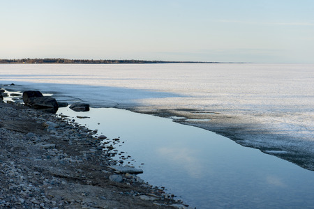 Frozen lake in winter, Lake Winnipeg, Hecla Grindstone Provincial Park, Manitoba, Canada photo