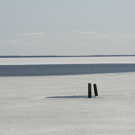 Frozen view of Lake Winnipeg, Hecla Grindstone Provincial Park, Manitoba, Canada photo