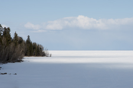 lake winnipeg: Frozen lake in winter, Lake Winnipeg, Riverton, Hecla Grindstone Provincial Park, Manitoba, Canada
