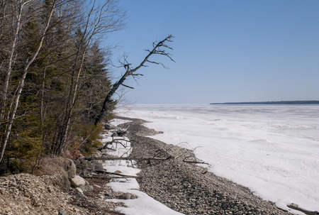 Frozen lake shoreline in winter, Lake Winnipeg, Hecla Grindstone Provincial Park, Manitoba, Canada photo