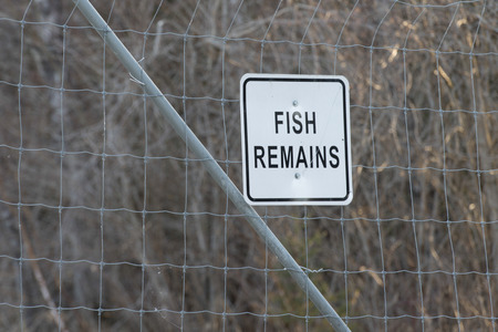 Sign board of fish remains, Hecla Grindstone Provincial Park, Manitoba, Canada