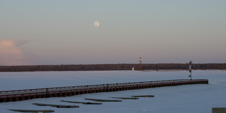 lake winnipeg: Pier on a frozen lake, Lake Winnipeg, Riverton, Hecla Grindstone Provincial Park, Manitoba, Canada