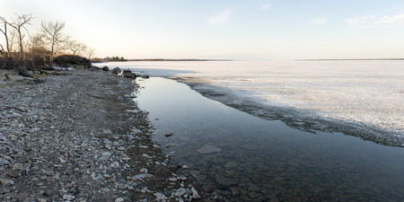 lake winnipeg: Shoreline of Frozen lake in winter, Lake Winnipeg, Hecla Grindstone Provincial Park, Manitoba, Canada