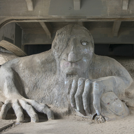 Sculpture under the bridge, Fremont Troll, Aurora Bridge, Fremont, Seattle, Washington State, USA