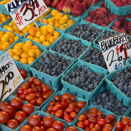 pike place: Fruits and vegetables for sale at a market stall, Pike Place Market, Seattle, Washington State, USA