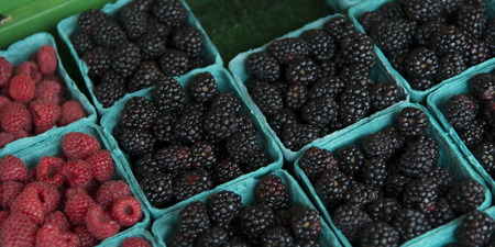 Raspberries and blackberries for sale at a market stall, Pike Place Market, Seattle, Washington State, USA
