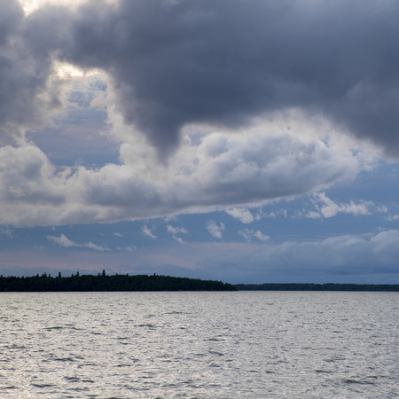 lake winnipeg: Clouds over the lake, Lake Winnipeg, Riverton, Hecla Grindstone Provincial Park, Manitoba, Canada Stock Photo