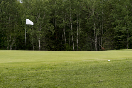 golf drapeau: Golf drapeau dans un terrain de golf, le parc provincial Hecla Grindstone, Manitoba, Canada Banque d'images