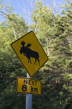 Elk crossing sign, Riding Mountain National Park, Manitoba, Canada