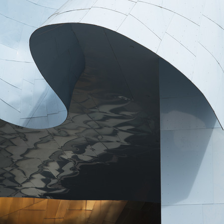 anne: Low angle view of EMP Museum exterior, Seattle, Washington State, USA Stock Photo