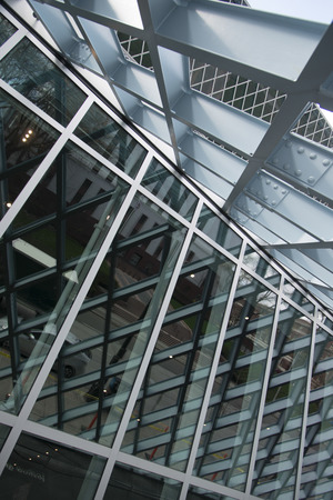 public library: Architectural detail of Seattle Central Library, Seattle, Washington State, USA
