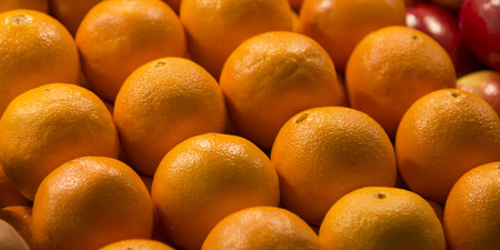 pike place market: Close-up of oranges for sale at a market stall, Pike Place Market, Seattle, Washington State, USA Stock Photo