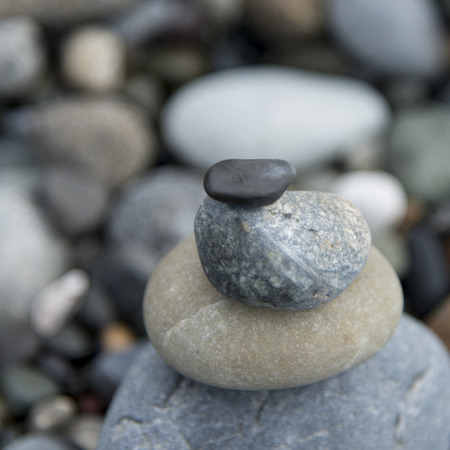 puget sound: Close-up of stack of stones, Deception Pass State Park, Oak Harbor, Washington State, USA