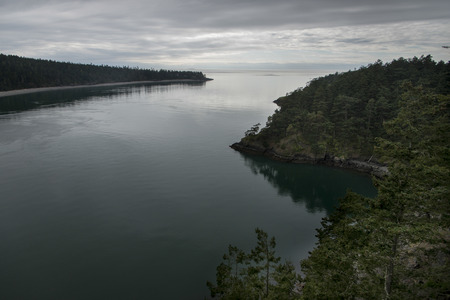 High angle view of a lake, Deception Pass State Park, Oak Harbor, Washington State, USA photo