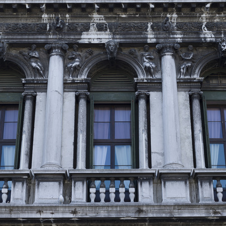 architectural exteriors: Architectural detail of historic building, Venice, Veneto, Italy
