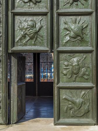 entranceway: Antique doorway detail, Venice, Veneto, Italy Stock Photo