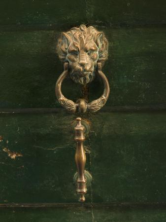 Full frame shot of door knocker on antique door, Venice, Veneto, Italy Imagens