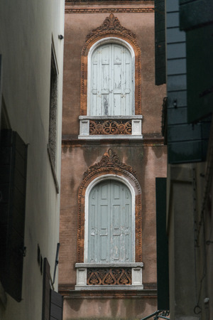 Architectural detail of houses, Venice, Veneto, Italy