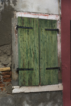 deteriorating: Close-up of weathered window of house, Burano, Venice, Veneto, Italy