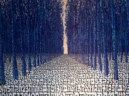repetition row: Illustration of trees with numbers in forest, Venice, Veneto, Italy
