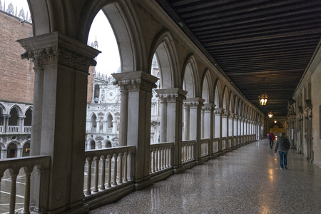 Colonnade of the Doge's Palace, Venice, Veneto, Italy
