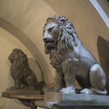 animal figurines: Statues of lions, Florence, Tuscany, Italy