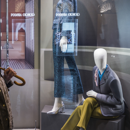 retail display: Window display of mannequins in clothing store, Florence, Tuscany, Italy Editorial