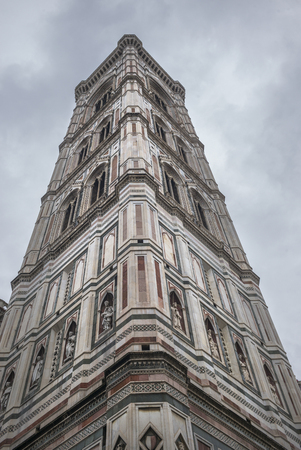 cattedrale: Low angle view of Giottos bell tower at Duomo Santa Maria Del Fiore, Florence, Tuscany, Italy
