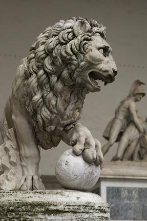 Medici lion statue at Loggia dei Lanzi, Piazza della Signoria, Florence, Tuscany, Italy Stock Photo