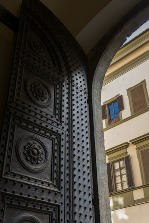 entranceway: Architectural detail of arch doorway, Florence, Tuscany, Italy