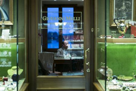 entranceway: Window display of jewelry shop, Florence, Tuscany, Italy