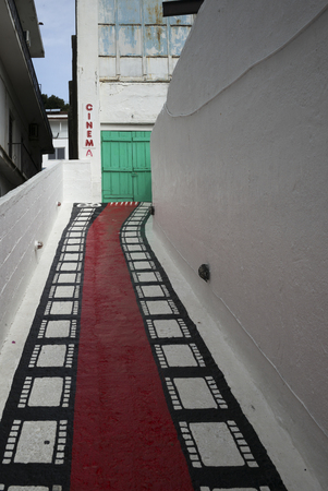 entranceway: Painted theatre building entrance, Skiathos, Greece Stock Photo