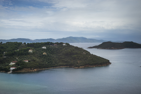 sea of houses: High angle view of houses on island in Aegean Sea, Skiathos, Greece