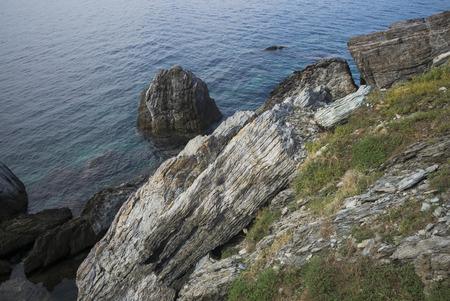 High angle view of rocks at coast, Agios Ioannis Sto Kastri, Sporades, Thessalia Sterea Ellada, Skopelos, Greece Stock Photo