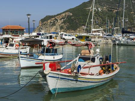 Fishing boats moored at harbor, Thessalia Sterea Ellada, Skopelos, Greece Editorial