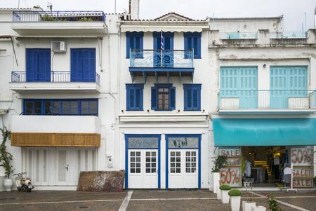 entranceway: Facade of buildings, Skiathos, Sporades, Greece Stock Photo