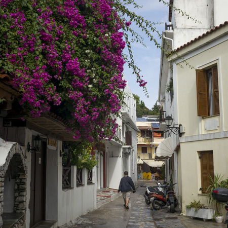 View of houses along alley in, Skiathos, Greece