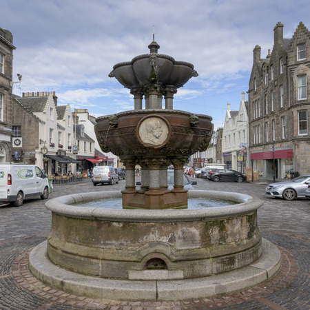 Fountain on street, St Andrews, Fife, Scotland