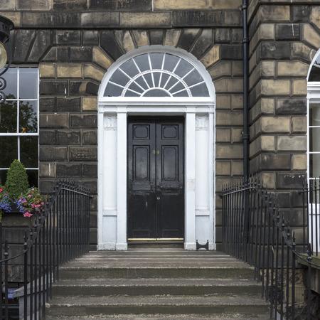 entranceway: Architectural detail of building entrance, George Street, Edinburgh, Scotland