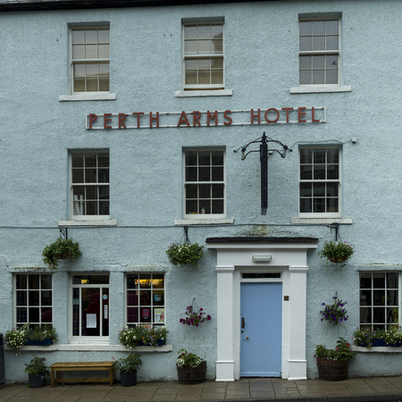 entranceway: Facade of the Perth Arms Hotel, Dunkeld, Perth and Kinross, Scotland