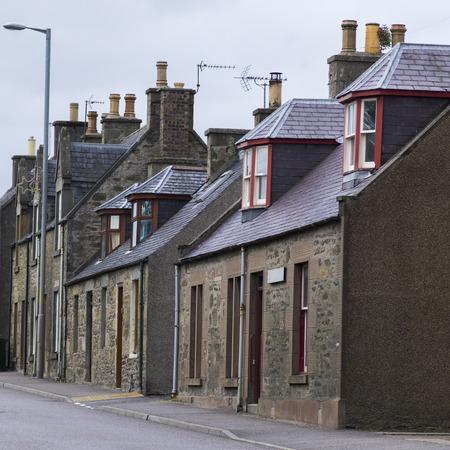 keith: View of houses along street, Keith, Moray, Scotland Stock Photo