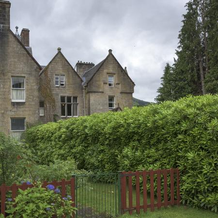 Facade of houses with garden, Scotland