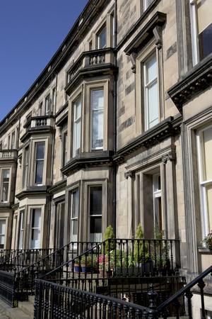 entranceway: Facade of row of houses in Edinburgh, Scotland Stock Photo