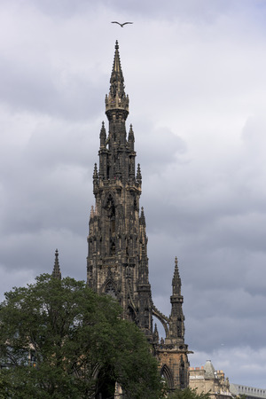 princes street: Low angle view of the Scott Monument, Princes Street Gardens, The Mound, Edinburgh, Scotland
