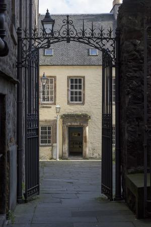 entranceway: View of house through gate, Edinburgh, Scotland