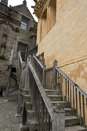 scottish culture: Wooden Staircase at Stirling Castle, Stirling, Scotland Editorial